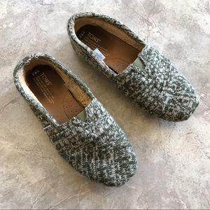 Toms Knit Sweater Classics Green Fur Lined 8.5